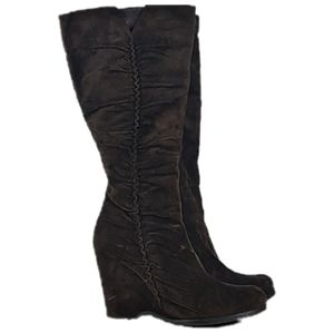 Ruffled soft leather wedge tall boots Brown suede